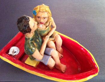 צעצוע המראה זוג בסירה